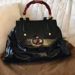 Gucci Patent Leather Bag With Red Bamboo Handle